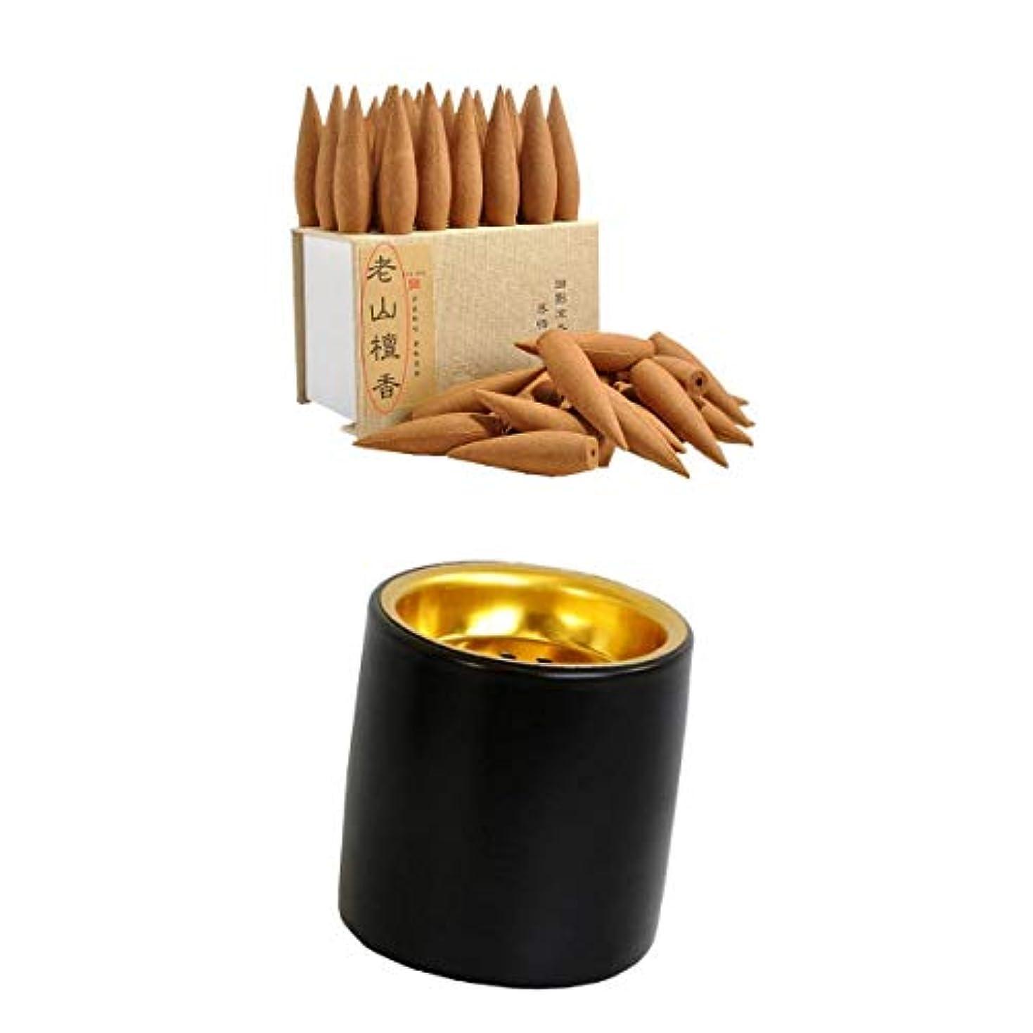 葬儀ファイル低いjoyMerit 香コーンモダンインテリアデスクトップ飾りと香アロマバーナー(ブラック)