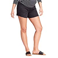 Ingrid & Isabel Maternity Crossover Panel Midi Jean Shorts – Black Wash