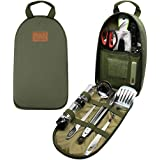 Gold Armour 13 Piece Camp Cooking Utensils Kit for Camping BBQ Cookware | Knife Cutting Board Stainless-Steel Tongs Scissors Spatula Ladle Steak Fork Grater Can Opener Spice Shakers & Travel Case