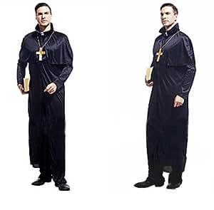 珍しい! 神父 なりきり セット ローブ + 十字架 ハロウィン コスプレ パーティ に 吸血鬼 とも
