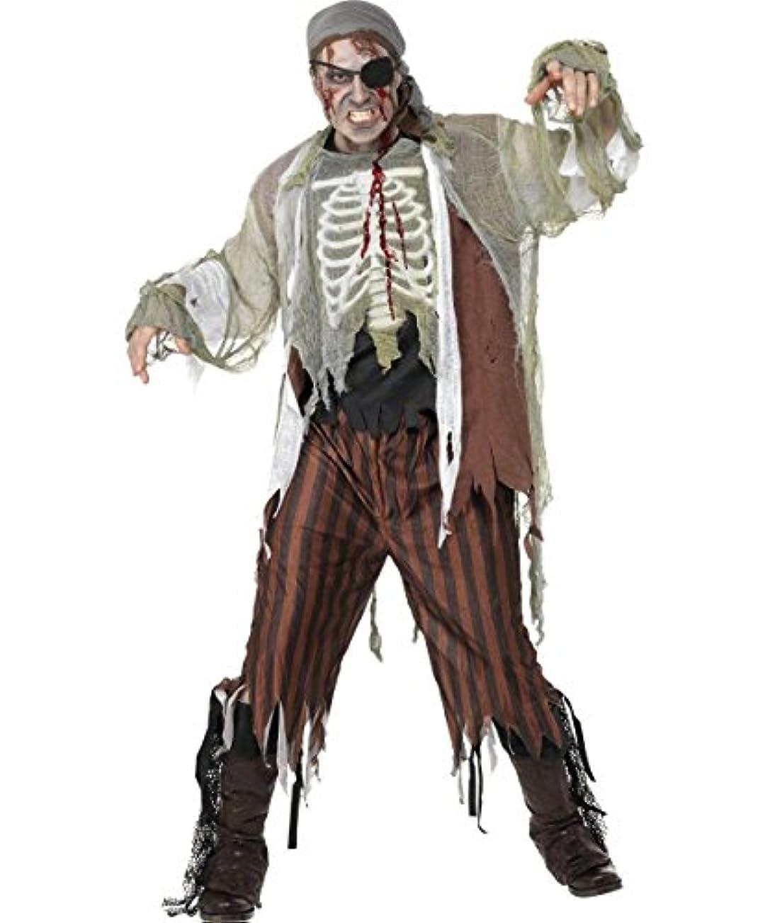 便利クリスチャン脅かすパイレーツオブカリビアン 海賊 ゾンビ パイレーツ メンズ ハロウィン コスチューム 仮装 衣装 服 cosplay コスプレ 人気 コスチューム 男性 大人用 Pirates of the Caribbean Zombie Halloween Costume (M:160cm-180cm)