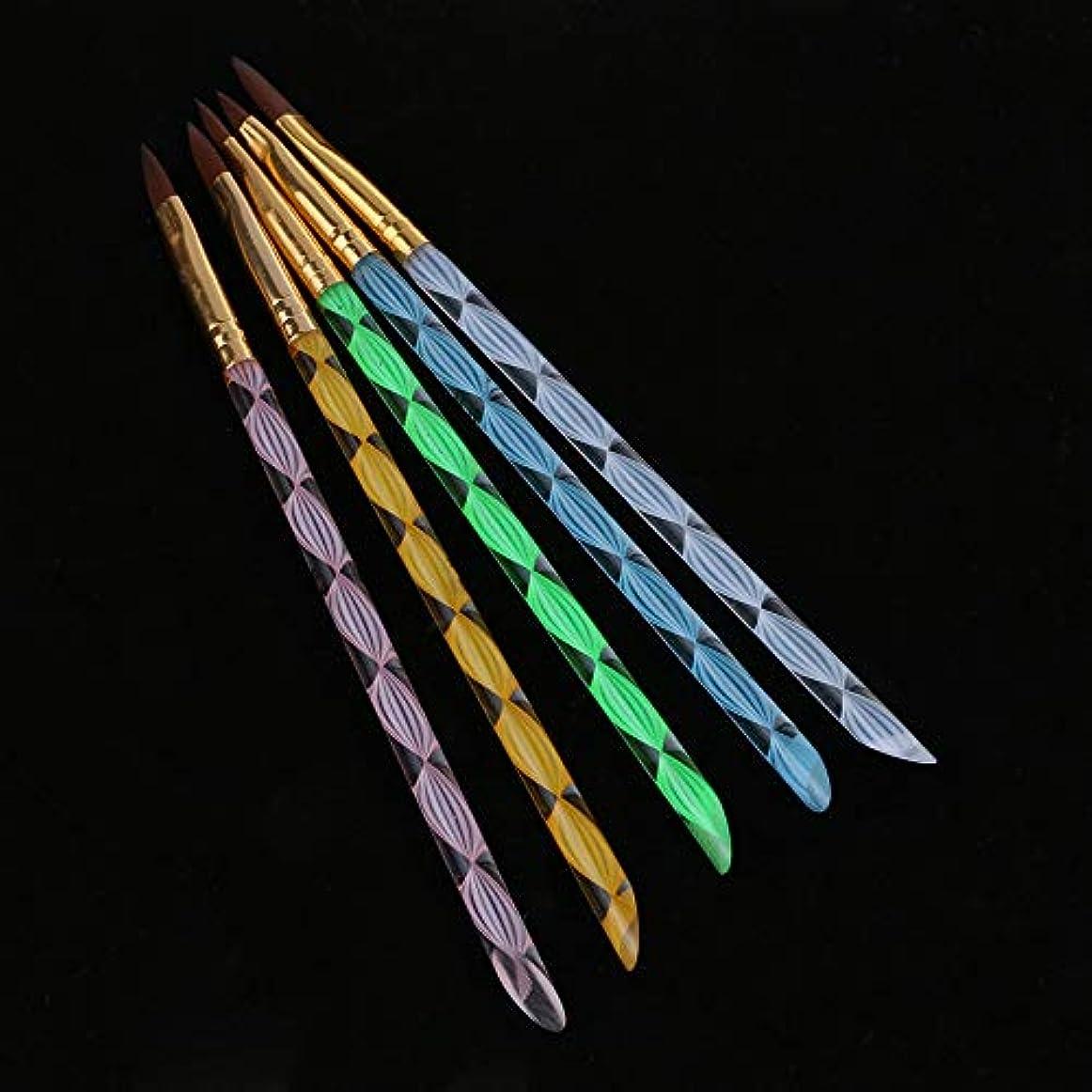 ヒステリックすき再生可能5PCS UVジェル ネイルアート ブラシ ペイントペンスパイラルネイルデザインクリスタルプロ 使用 家