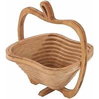 かご 小物入れ バスケット リンゴ型 折りたたむと鍋敷きとして使える 果物入れ お菓子入れ 小物入れ 竹製 小タイプ