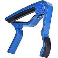 Fosa ポータブル クイックチェンジ ギターチューニングクリップ ハンドヘルドチューナー  Capoフォークギターに対応 (ブルー)