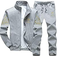 PASOK Men's Casual Tracksuit Full Zip Running Jogging Athletic Sports Jacket and Pants Set