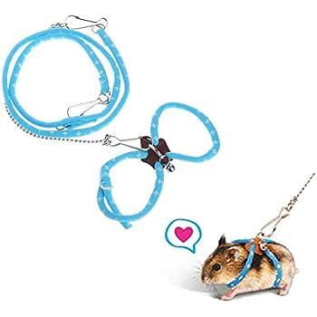 ハムスターハー 牽引帯 鈴付き ペット リード 牽引帯 調節可能 首輪 矮小ウサギ最適 トレーニング ペット用品 お散歩 お出かけ用 ブルー 1個入り