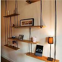 ウォールシェルフ アメリカの国レトロ麻ロープ堅実な木製の壁ぶら下げ収納ラック創造的な家の壁の装飾フレーム、ディスプレイスタンド(6サイズ)。 (サイズ さいず : 90*20*160cm)