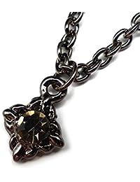 [ソリッド]solid プチペンダント メンズネックレス ブラックカラー スクエア ダイヤ キラキラ輝く煌きカットGlassスト