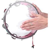Hand Tambourine, Portable Drum Children Percussion Instruments Adjustable Tone Row Tambourine Handheld Tambourine(Red)