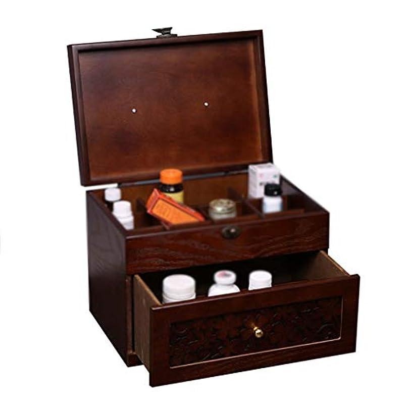 非効率的な支配する頑丈応急処置ボックス、木製材料薬物保管医療用ボックスポータブルouble-Layer容量家庭用薬キャビネットロック可能なボックス木製のスーツケース