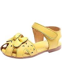 Tonsee 子供靴 女の子 可愛い ちょう結び サンダル 夏 キッズ シューズ 履きやすい 滑り止め お嬢様 オシャレ 日常履き カジュアル (26/内長 16CM, イエロー)