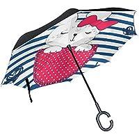 逆さ傘 逆折り式傘 車用 日傘 長傘 うさぎ ストライプ柄 UVカット 手離れC型手元 撥水加工 晴雨兼用 耐風 124センチ