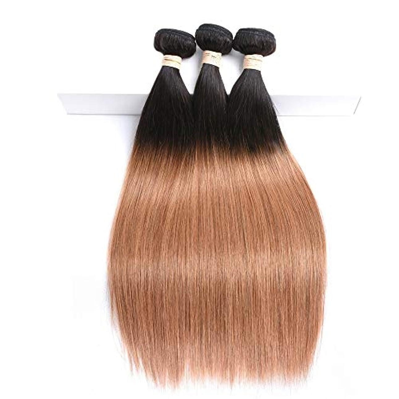 職人スムーズにみがきますWASAIO 長いウィッグストレートレミー人間の髪2つのトーン、人間の髪かつら - #1 T1B / 30人毛バンドル(1バンドル、100G、8