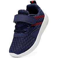 DADAWEN Boy's Girl's Lightweight Breathable Sneakers Strap Athletic Running Shoes Navy US Size 7.5 M Toddler