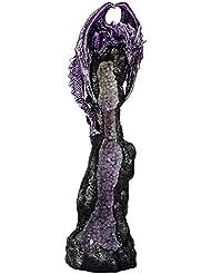 パープルDragon on Geode Rock GemstoneクォーツStick Incense Burner中世ファンタジー10.5インチH