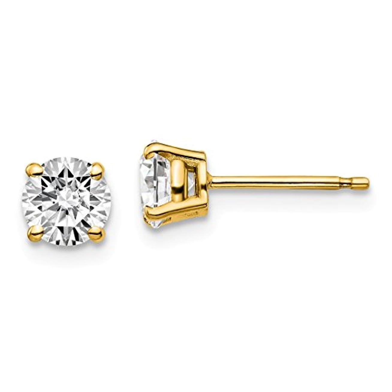 クラシックスペインサービスICE CARATS 14金 イエローゴールド 1ctw Vs/si Def Lab Grown ダイヤモンド 4プロング ポスト スタッド ピアス フリクション バック ファインジュエリー 女性へのギフトに最適