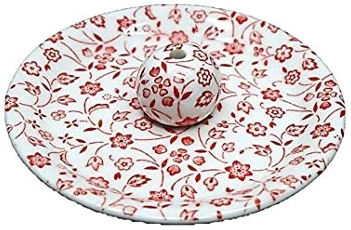 浜辺部世論調査9-20 赤小花 9cm香皿 お香立て お香たて 陶器 日本製 製造?直売品