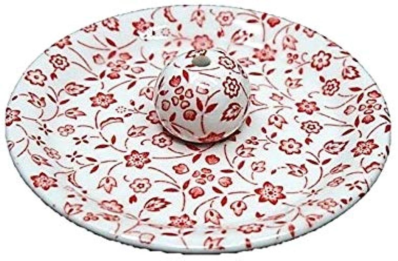ロバ本会議四9-20 赤小花 9cm香皿 お香立て お香たて 陶器 日本製 製造?直売品