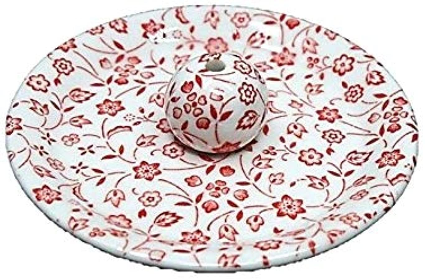 ベーカリー好奇心盛広々とした9-20 赤小花 9cm香皿 お香立て お香たて 陶器 日本製 製造?直売品