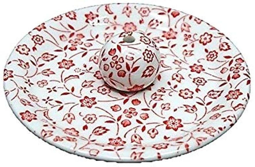農学航海の振る9-20 赤小花 9cm香皿 お香立て お香たて 陶器 日本製 製造?直売品