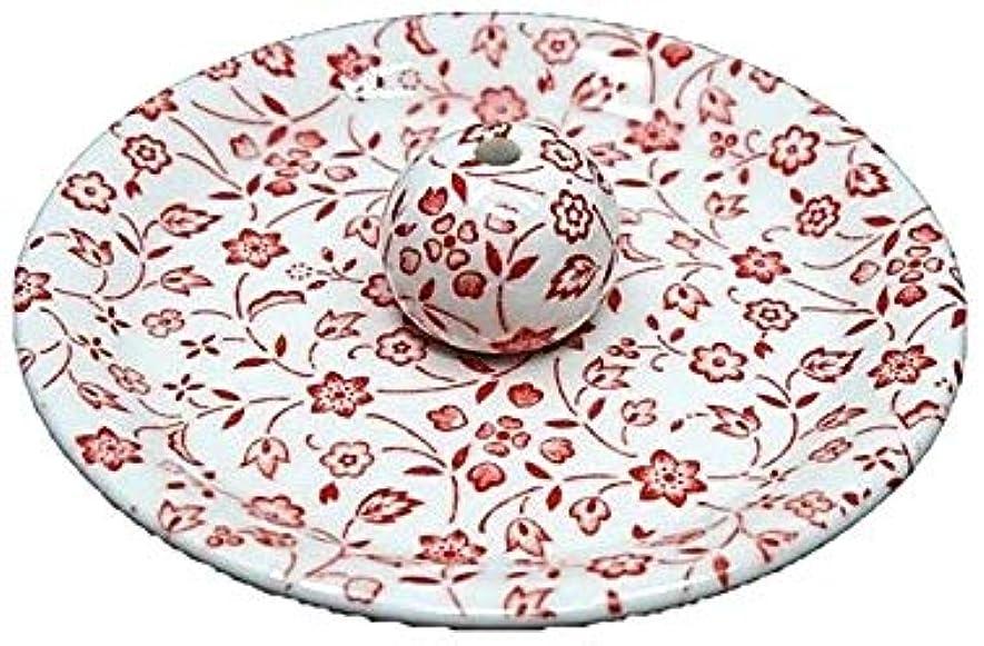 派手音声呼びかける9-20 赤小花 9cm香皿 お香立て お香たて 陶器 日本製 製造?直売品