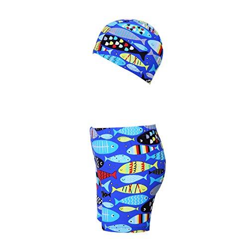 HYSENM 子供 水着 男の子 ボーイ パンツとキャップのセット 魚柄 プール 水泳 水遊び 海 浜辺 夏 3-9歳五つサイズあり L(110-120cm) ブルー