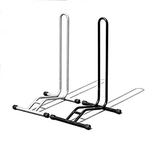 床置用 L字型 自転車スタンド 1台用  駐輪スタンド 屋内 屋外 (シルバー)