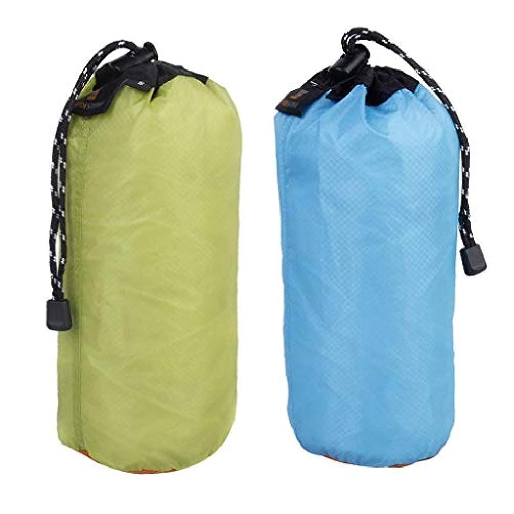 ところで貞奨励します巾着袋 2点セット ナイロン 防水 マルチバッグ ハイキング キャンプ用収納 旅行 引きひも袋 多用途 2L 5L 20L 青 緑
