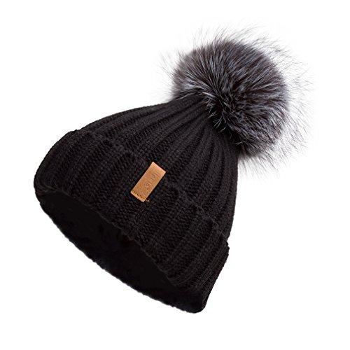 レディース ニット帽 キャップ ハット シルバーフォックスファーポンポン付き帽子 男女兼用 Pilipala 17604 ブラック