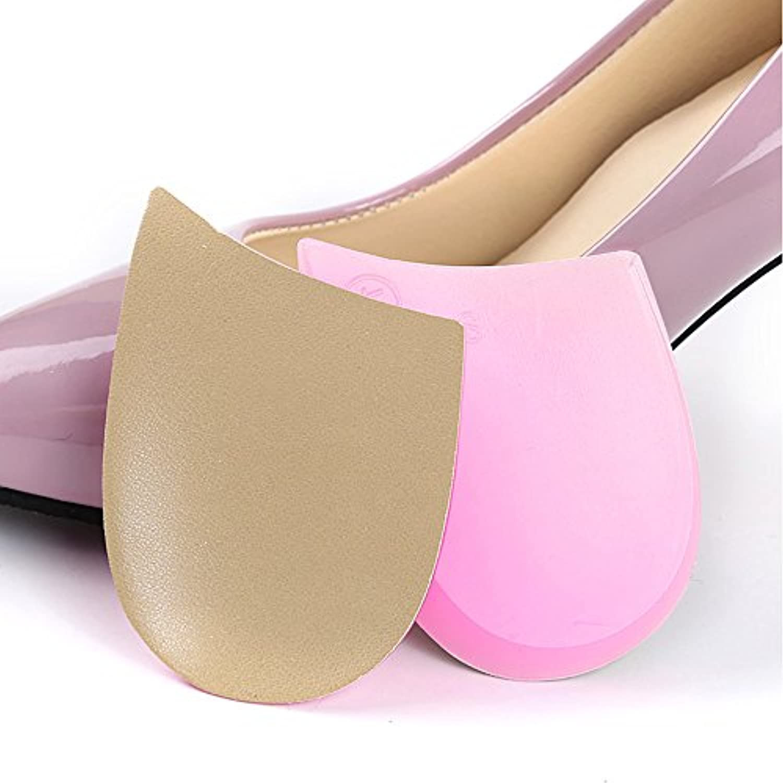 O脚/X脚矯正インソール 内股/外股かかと補正パッド 衝撃吸収クッション シリコン 痛み緩和 ケガ予防 靴カップ 姿勢調整 ウォーキング 美脚 柔らかい 低反発 立ち仕事中敷き 男女兼用 (1足入り) (アプリコット+ピンク)