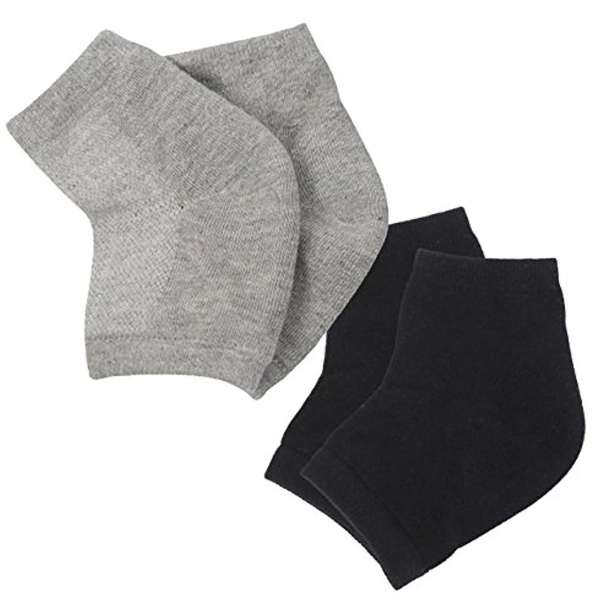シルエット特徴損なう(アクアランド) AQUALAND かかと 保湿ソックス ツルツル 乾燥 カサカサ 履くだけ 簡単 洗える シリコン 指だし 削らない 塗らない 寝ている間に 男女兼用 サイズフリー 2足組セット (ブラック+グレー)