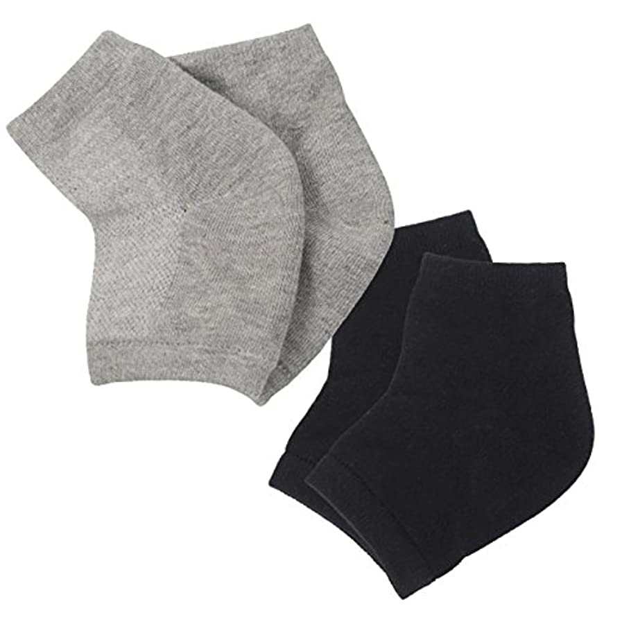古風なプリーツ路地(アクアランド) AQUALAND かかと 保湿ソックス ツルツル 乾燥 カサカサ 履くだけ 簡単 洗える シリコン 指だし 削らない 塗らない 寝ている間に 男女兼用 サイズフリー 2足組セット (ブラック+グレー)