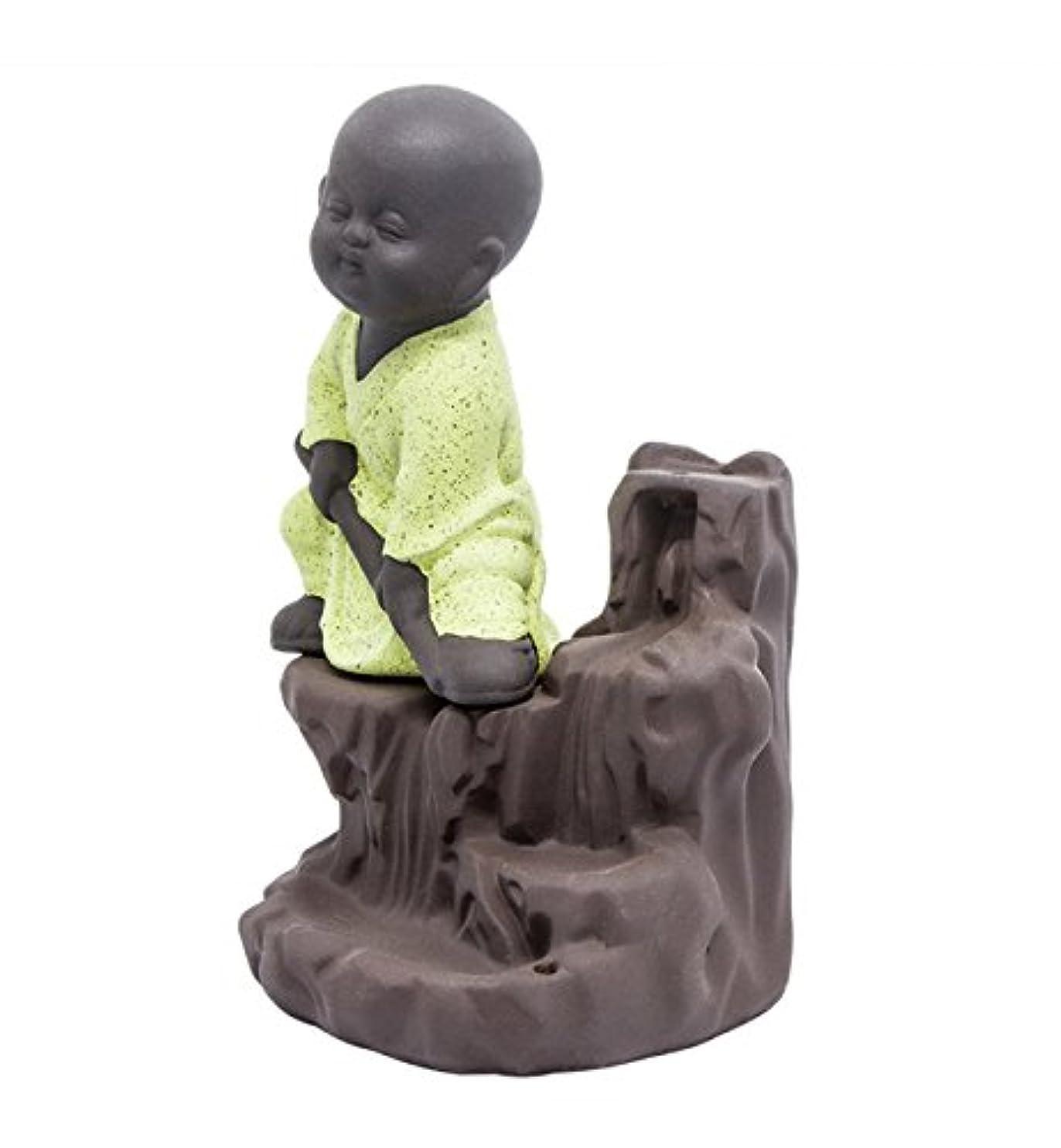 転送発火するアルミニウム逆流香炉タワーCones Sticks Little Monkホルダーセラミック磁器Buddha Monk Ashキャッチャーby Simon & # xff08 ;イエロー& # xff09 ;