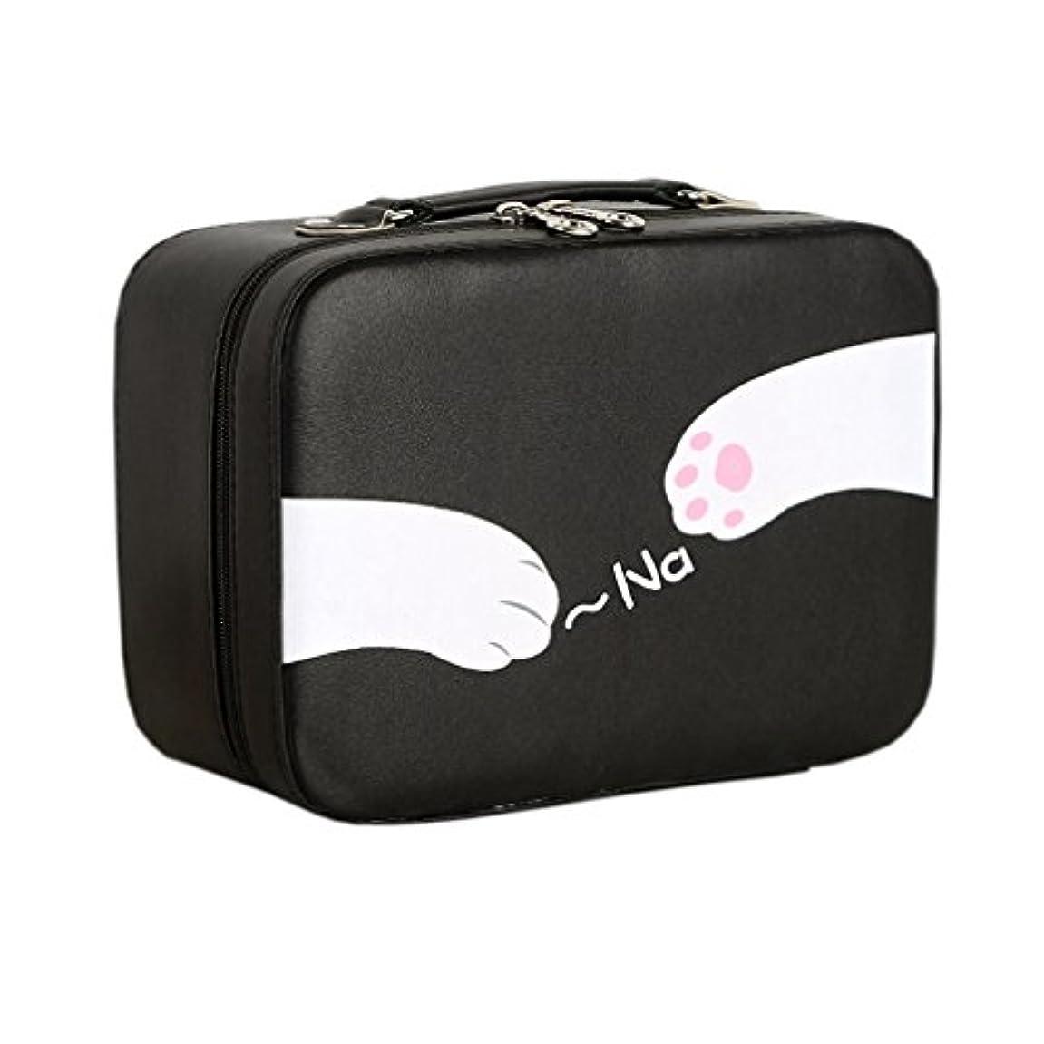 居間好むとげ店舗]化粧ポーチ 大容量 機能的 猫柄 11選択 メイクポーチ 化粧ボックス バニティーケース 仕切り 鏡付き ブラシ収納 取っ手付き ダブルジップ 撥水加工 かわいい おしゃれ 軽量 女性