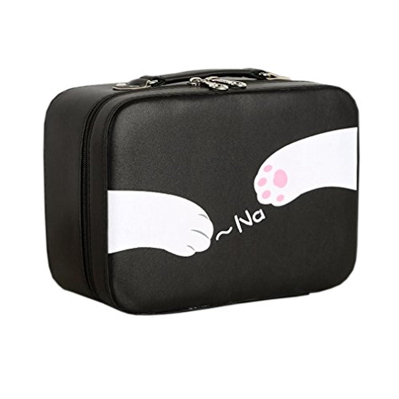 成功する献身ブランク店舗]化粧ポーチ 大容量 機能的 猫柄 11選択 メイクポーチ 化粧ボックス バニティーケース 仕切り 鏡付き ブラシ収納 取っ手付き ダブルジップ 撥水加工 かわいい おしゃれ 軽量 女性