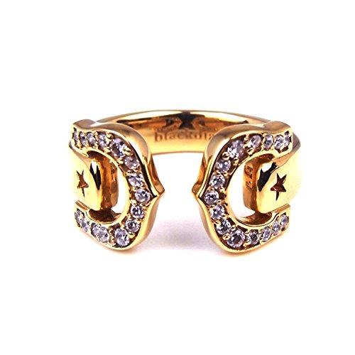 人気 メンズ レディース ブランド blackdia 馬蹄 ジルコニア リング 金 銀 ホースシュー 指輪 (ゴールド)