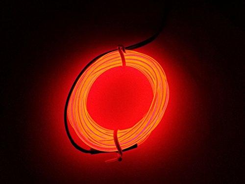 M.best 有機 ELワイヤーネオン 電池式 EL直径2.3mm 長さ3m トランスフォーマー付きELワイヤー 衣装 パーティー LED ライト 自転車 ライト 点灯・点滅機能 (レッド)