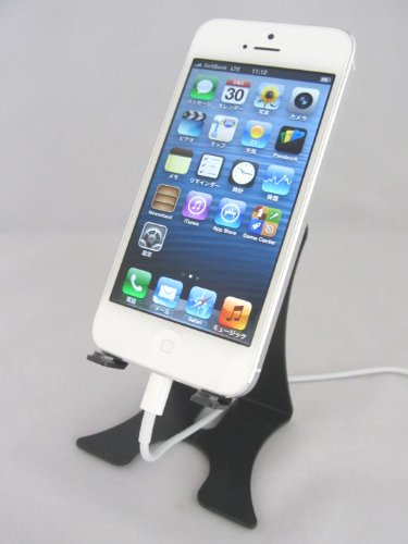 【日本製】iPhone Android対応充電スマートフォン アルミスタンド 縦置・横置き対応 ブラック KO-01B(iPhone5まで対応)