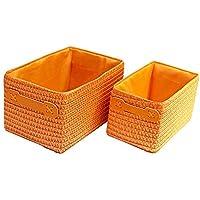 ストレージバスケットデスクトップ非カバーストレージボックスデブリ保管バスケット (Color : Orange)