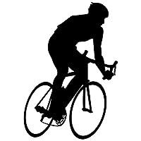 "Bicycling壁デカールステッカー9–デカールステッカーと壁画子供少年少女の部屋、寝室。スポーツのホームの壁アートインテリア、装飾–サイクリング自転車シルエット壁画 48 in. (34""W x 48""H) ブラック silbiking9-B-48"