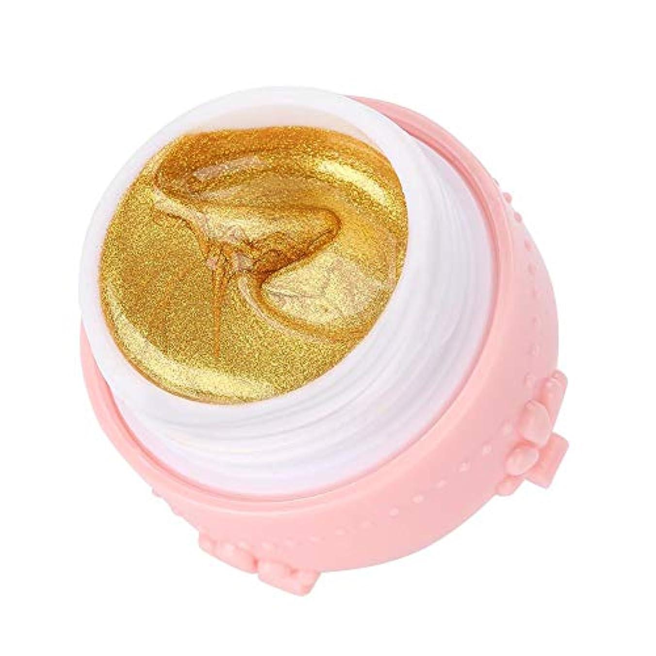 欠如帰るファブリックジェルネイル キラキラ素敵な 3DネイルUVジェル 強力な接着 女性 良い贈り物(金色)