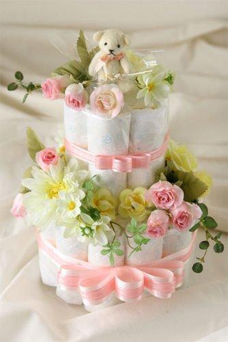 おむつケーキ 2段 ピンク 出産祝い 人気№1 シンプルで可愛い 結婚祝いにも (パンパースSサイズ)