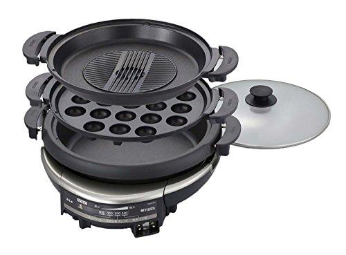 タイガー グリル鍋 5.0L プレート 3枚 タイプ 深鍋 たこ焼き 焼肉 プレート 蒸し台 蓋 付き CQD-B300-TH