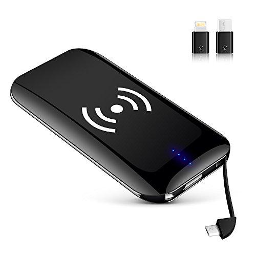 KYOKA モバイルバッテリー ワイヤレス 充電 Qi 10000mAh 大容量 軽量 超薄型 ライトニング/microUSBコネクタ付 iPhone X/Galaxy Note 8 各種他対応 (10000mAh, 黒)