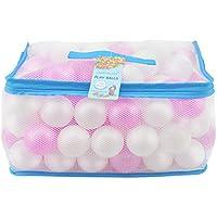 Lightaling 100個 ホワイト & ピンク オーシャンボール & ピットボール ソフトプラスチック フタル酸エステル& BPAフリー クラッシュプルーフ – 再利用可能で丈夫なメッシュバッグ ジッパー付き