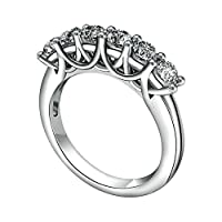 Anazoz リング 女性 Silver 925 シルバー ジュエリー シンプル風 多粒 3.5MM キラキラ Cz グッドカット 婚約指輪 結婚指輪 恋人愛の贈り物 サイズ: 24号