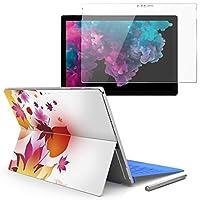Surface pro6 pro5 pro4 専用スキンシール ガラスフィルム セット 液晶保護 フィルム ステッカー アクセサリー 保護 フラワー 紅葉 秋 001303