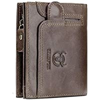 Men's Wallets,Popoti Leather Wallet Large Capacity Purse with Zipper Foldable ID Card Case Coin Pocket Bifold for Bank Credit Card Pocketbook