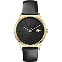 Lacoste Women's 35mm Black Leather Band Steel Case Quartz Analog Watch 2001041