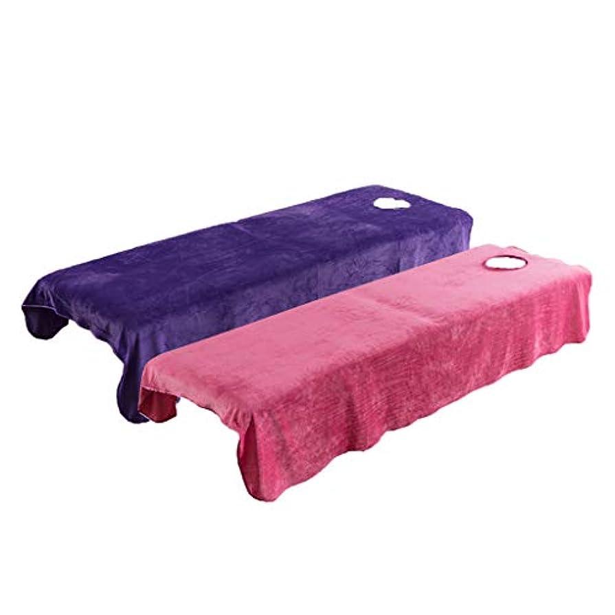 質量インタラクション精巧なPETSOLA 有孔 スパ マッサージベッドカバー 2枚入り 美容ベッドカバー マッサージ台シーツ ピンク&パープル